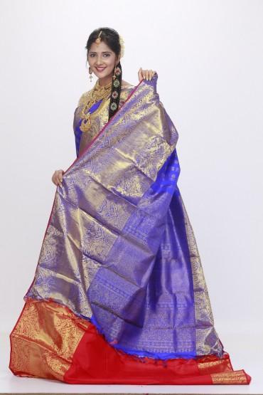 bridal kanjivaram saree blue and red