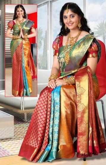 bridal kanjivaram saree splash of colours