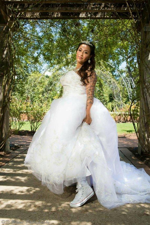 bride wearing Converse Bridal Sneakers