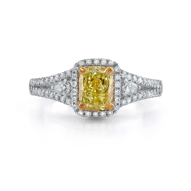 18K WHITE AND YELLOW GOLD FANCY YELLOW CUSHION SPLIT SHANK DIAMOND RING by Bova Diamonds