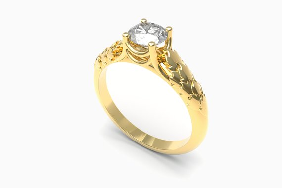 solitaire with floral setting engagement rings by Aurelius