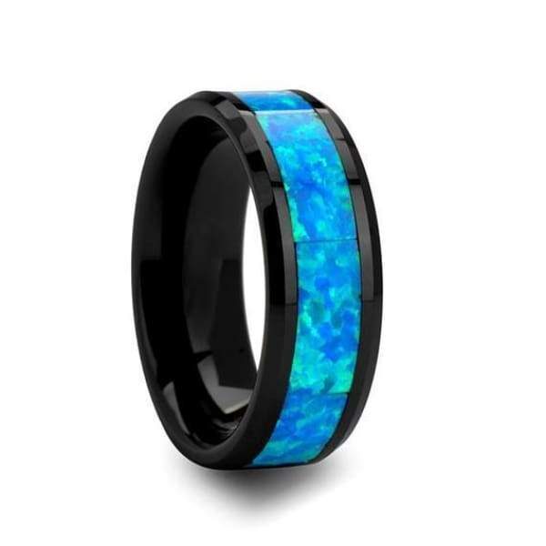 Black and blue wedding bands